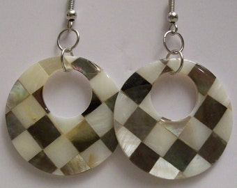 Multi-color Shell Earrings,Checker Design,Jewelry,Gifts for Her,Gifts,Gift Ideas,Round,Silver,Earrings,Women,Birthdays,