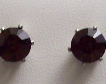Stainless Steel Earrings with SWAROVSKI Plum Crystal Elements
