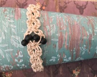 Black beaded, tan hemp bracelet