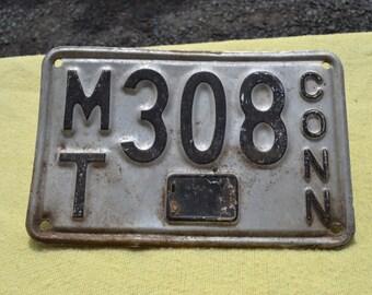 Vintage Connecticut License Plate, MT 308 CONN 1937-56