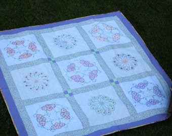 Hand Stitched Embroidered Quilt