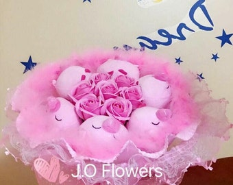 Pink Pigy plush doll rose Bouquet