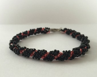 Black and Pink Beaded Friendship Bracelet