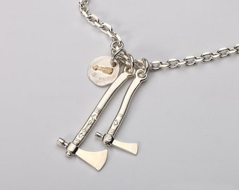 Sterling Silver Axe Necklace Sets Ancient Axe Pendant Hatchet Necklace 925 Silver Axe Jewelry Mens Necklace Battle Axe Necklace Tribal Hook