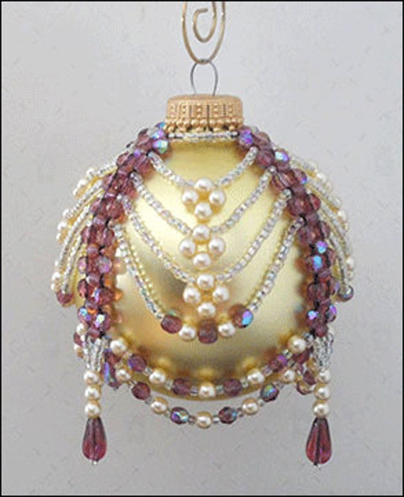 Amethyst & Pearl Beaded Christmas Ornament Cover Pattern