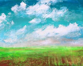 Sunny Landscape. Original Acrylic Painting. Free Shipping