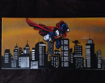 Superman Flying Through Metropolis