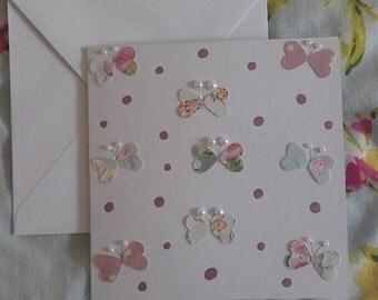 Flutter Heart Polka Card