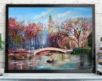 Bridge in the park. Late autumn. Original oil painting on canvas.