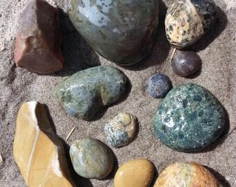 Jasper Agate for Lapidary Jewelry, Oregon Green Opal, Two Pounds Select Oregon Beach Stones #JA006