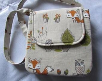 Woodland animals linen handbag