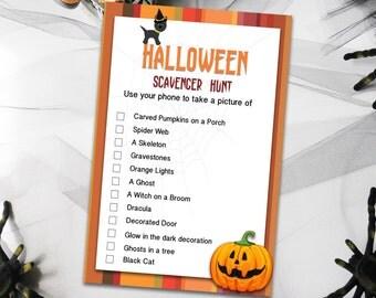 Halloween Games, Printable Scavenger Hunt Games, Halloween Party Games, Kids Halloween Games, Printable Scavenger games