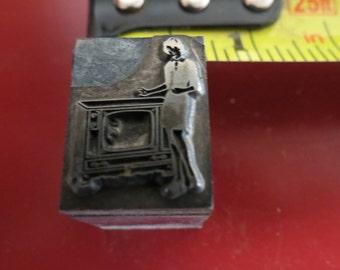 Vintage Zinc/Lead printing block- letterpress- Lady with television