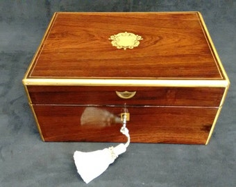 English Antique Rosewood Jewellery Box Brass Banding