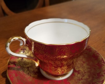 Vintage Aynsley English Bone China Cup & Saucer - Red w/Gold
