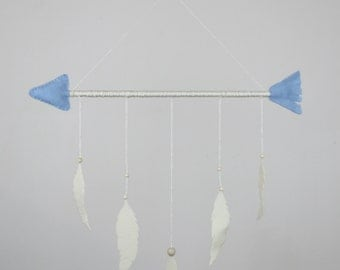 Baby Blue Arrow and Ivory Feathers Mobile