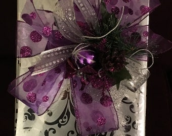 Purple dotted organza large bow