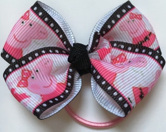 "Peppa Pig Hair Bow~Small Hair Bow~Ponytail Holder~Infant/Toddler Hair Bow-2.5"""
