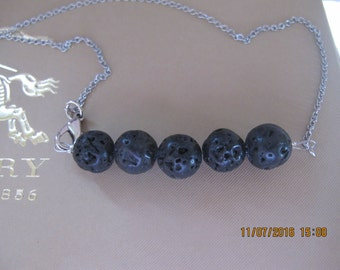 5 Lava Beads Necklace