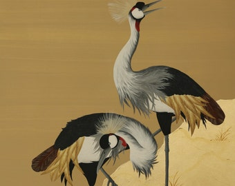 Hand-Painted Cranes On Gold Leaf - Wood Panel
