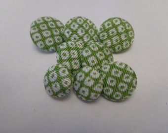 8 Vintage Green and White Cloth Buttons Vintage Buttons Retro Cloth Buttons