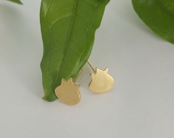 Gold stud Pomegranate Earrings, Gold plated studs, Tiny studs earrings, Gold Pomegranate, Pomegranate jewelry, Gift for her, Rosh Hashana