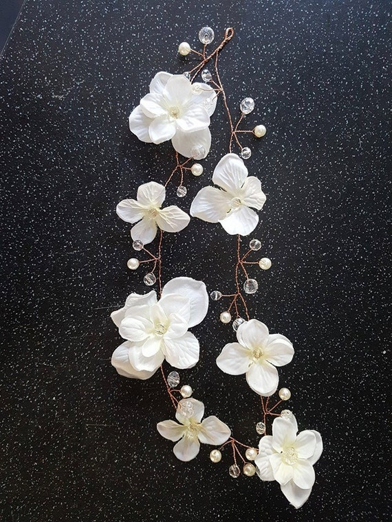 rose gold pretty flower hair vine / Bridal hairpiece/ gold hair vine /flower vine