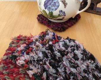 Hand knitted tea pot stand