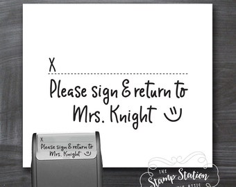 Teacher self inking stamp - homework stamp sign and return teacher stamp TSRS