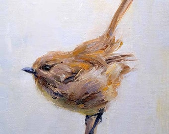 Wren Bird 5x7 Print on Watercolor Paper with Deckled Edge or Giclee