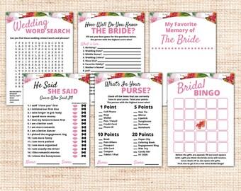 Tropical Bridal Shower Games Package - Instant Download - Flowers Printable Bridal Shower Kit - Pink Wedding Shower Games - Party Games K001