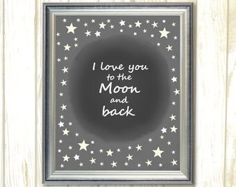 I Love You To the Moon and Back, Printable star, Kids wall art decor, black and white art, kids nursery art, Nursery Art Printable
