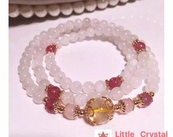 Moonstone triple-ring bracelet/ with Strawberry quartz