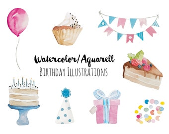 Aquarell, Watercolor, Birthday Essentials Clipart, BIrthday Kit, Collection, Scrapbook, Clipart, Party, Celebrate