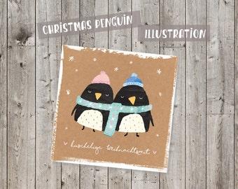 Digital christmas penguin illustration, Clipart, Scrapbook, fabric, mix