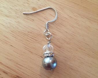 Handmade Silver & Pearl dangle earrings
