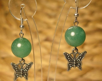 Hand made green buterfly earrings