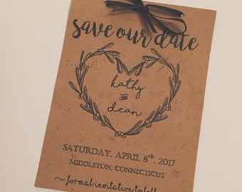 """Rustic Theme """"Save The Date"""" announcements"""