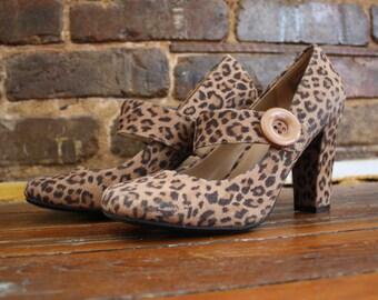 Leopard Print High Heels w/Buttons