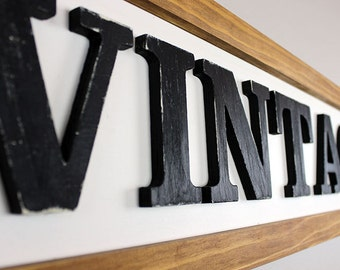 "Handmade Wooden Sign ""Vintage"" with Distressed Lettering- Handmade & Hand-painted Vintage Style Wall Decor"