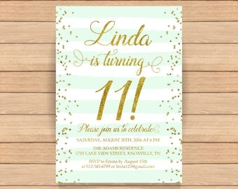 11th birthday invitation, Eleventh birthday, Gold glitter confetti, Mint stripes, Teen birthday invitation, ANY AGE, COLOR - 1561
