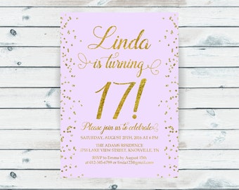 17th birthday invitation, Seventeenth birthday, Gold glitter confetti, Lavender background, Teen birthday invitation, ANY AGE, COLOR - 1561