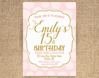 15th Birthday invitation, Pink and Gold Birthday, Invitation card, Teens Invitation, Pink Gold Confetti, Girl Birthday, ANY AGE - 1525