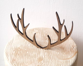 Deer antlers cake topper, wedding cake topper, antlers topper, rustic wooden cake topper, woodland wedding decoration, your choice of wood