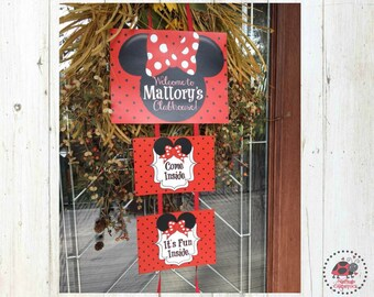 Minnie Mouse Birthday Party Welcome Sign, Door Sign, Party Decor, Come inside, It's Fun inside, DIY, Red and Black Polka Dots, Printable