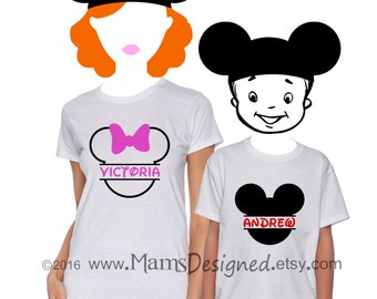 Split Mickey Mouse, Minnie Mouse, Disney-Inspired Personalized T-shirt | Ladies | Newborn | Infant | Youth | Adult Sizes