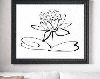 Lotus Flower Art - Lotus Flower Print, Lotus Flower Wall Decor, Lotus Flower Painting, Minimalist Art, Lotus Art, Lotus Print, Buddhism