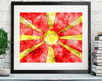 Macedonia Flag Art, Macedonia Flag Print, Flag Poster, Country Flags, Watercolor Painting, Watercolor Flag, Flag Poster, Housewarming Gift