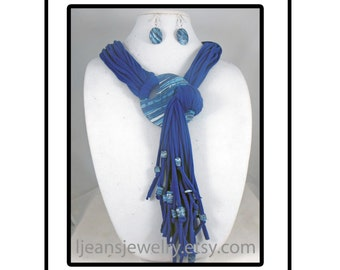 Blue Polymer ClayPendant Necklace/Scarf and Earring Set