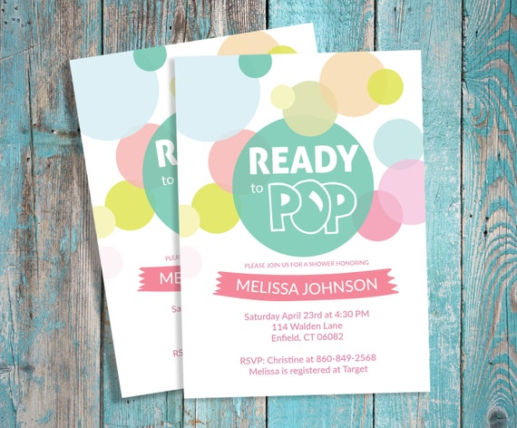 ready to pop baby shower invitation made to order customized file